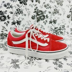 Vans Old Skool red suede white trim sneakers 6